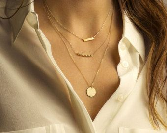 Layered Necklace Set with Skinny Bar Necklace by LayeredAndLong