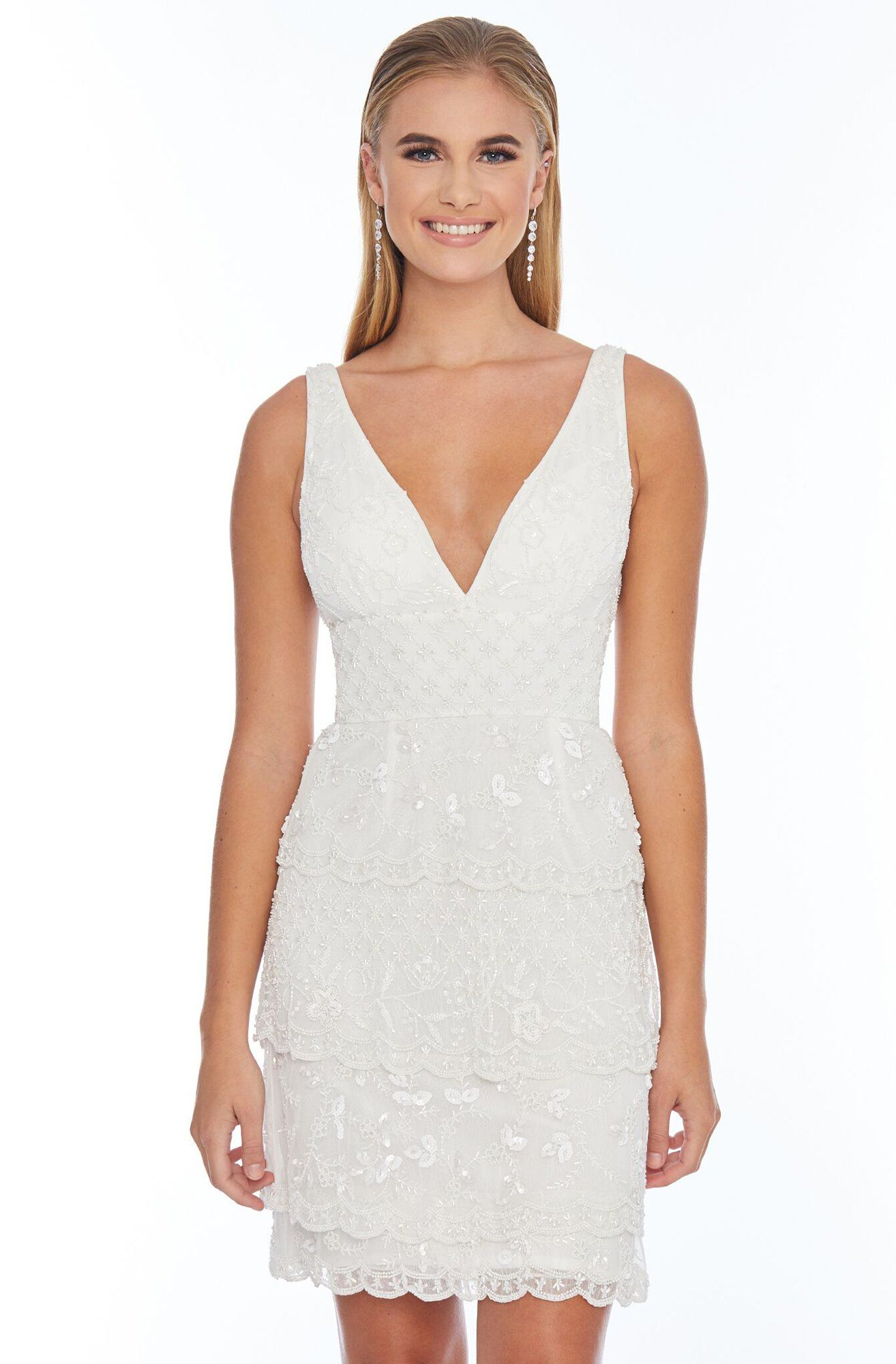 Ashley Lauren 4251 Beaded Deep Vneck Fitted Dress in