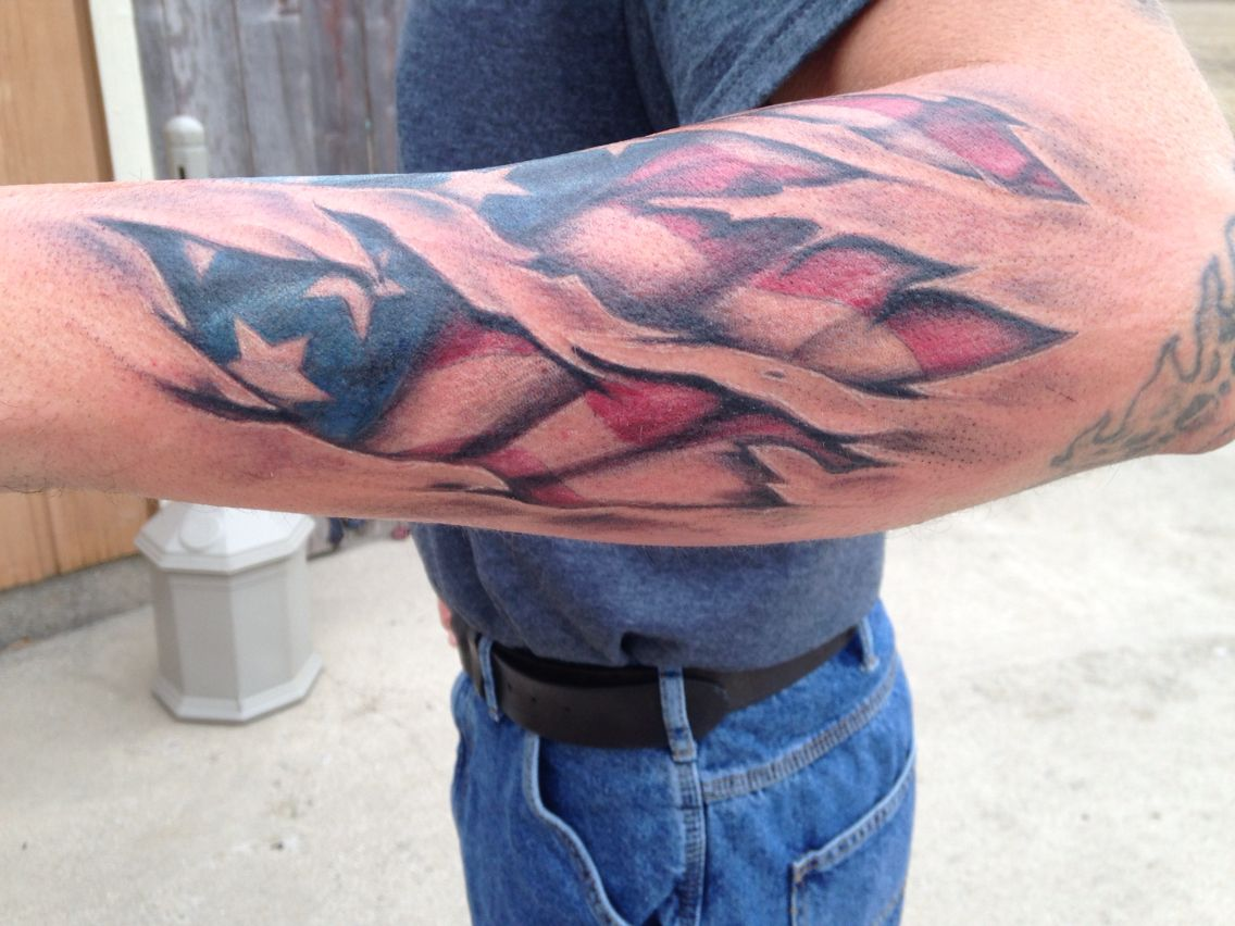 Torn Skin And American Flag Tattoo Done By Me Tattoos For Guys Ripped Skin Tattoo Flag Tattoo