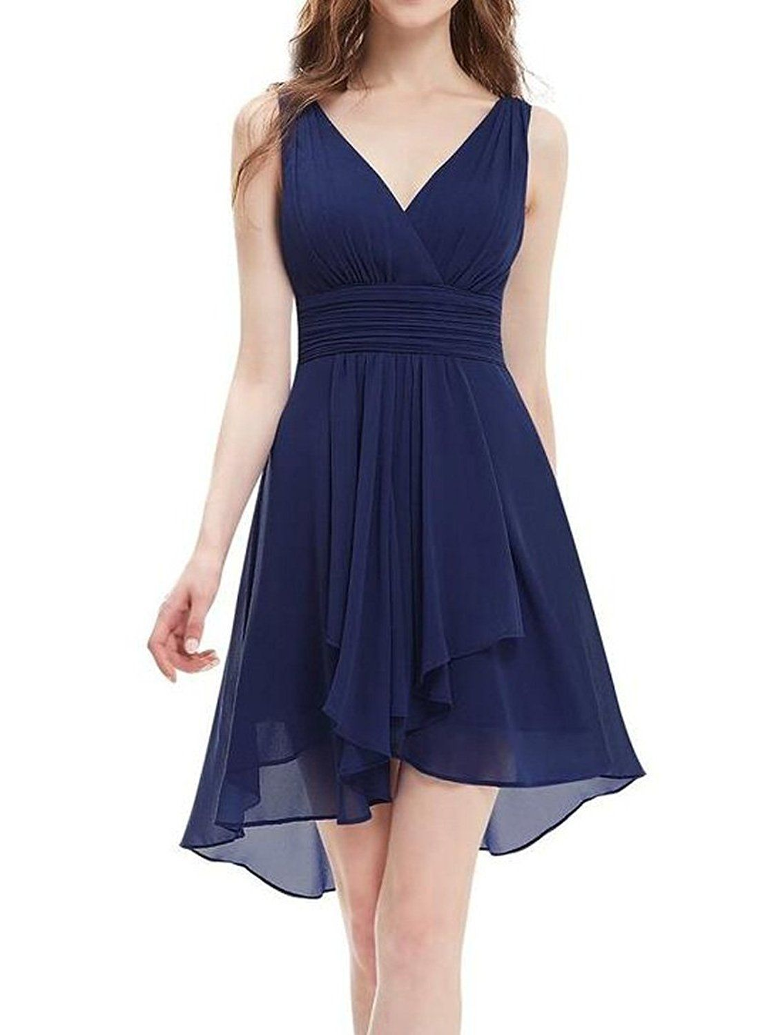 Aokaixin V Neck Empire Waist Ruffles Hi-Lo Backless Junior Bridesmaids Dress >>> Want to know more, click on the image. (This is an affiliate link and I receive a commission for the sales)