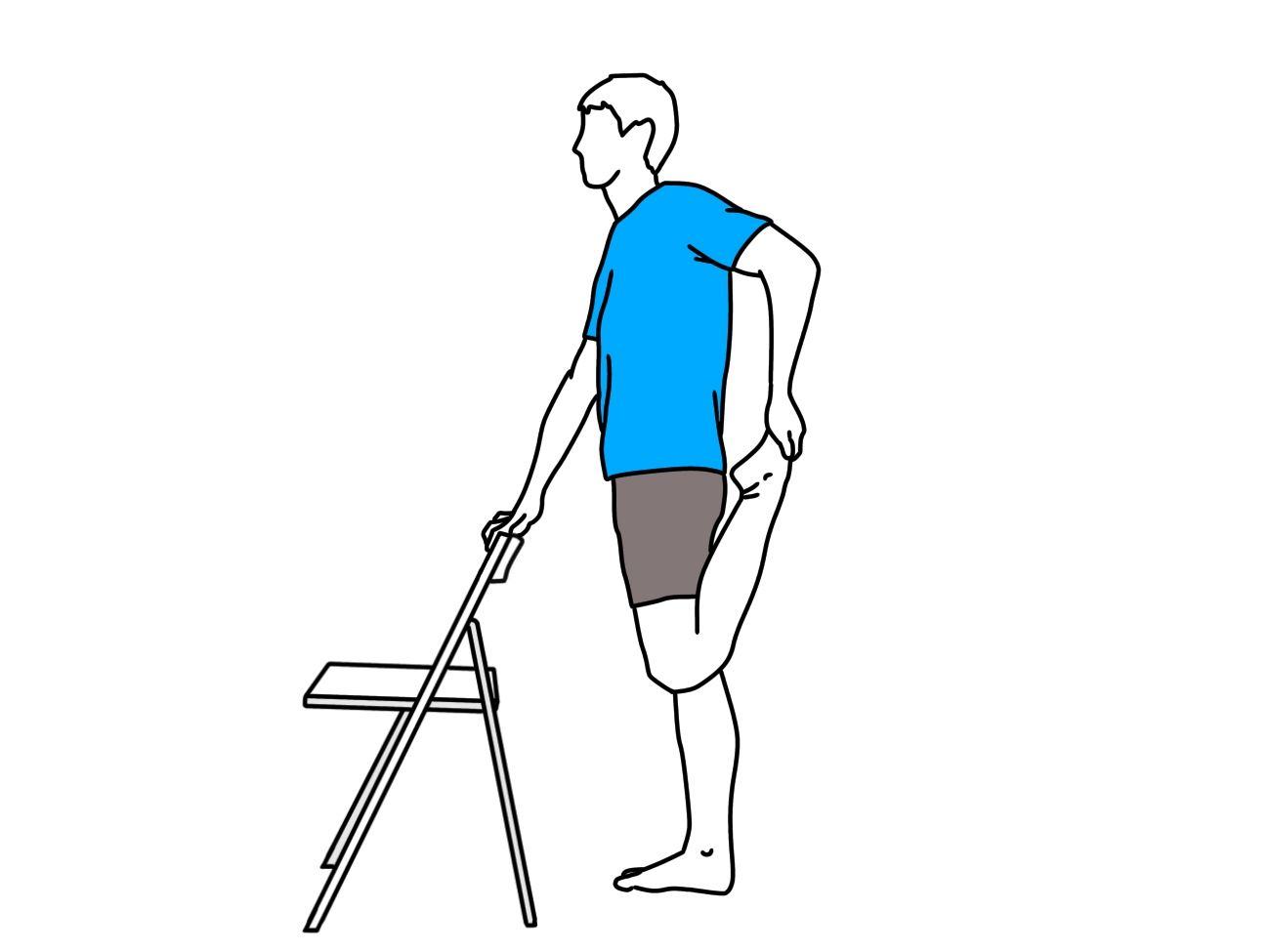 Quadriceps Stretch With Chair Illustration 2 Stretch Illustration In 2020 Illustration Stretches Chair