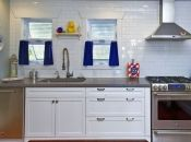Concrete countertops and subway tile.