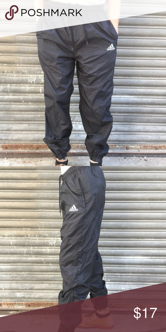 6da6d12af5a6 Adidas classic nylon sweats CLASSIC Adidas black Nylon Active wear street  style sweatpants. They are