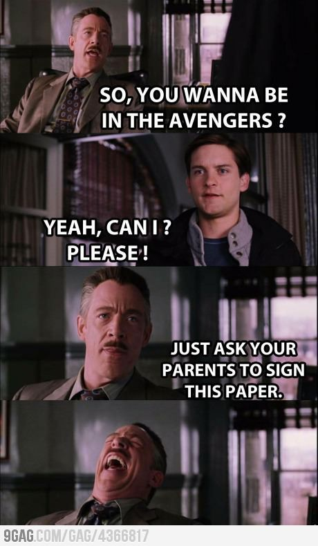 Why Spidey is not in The Avengers. Awwww poor Peter :/