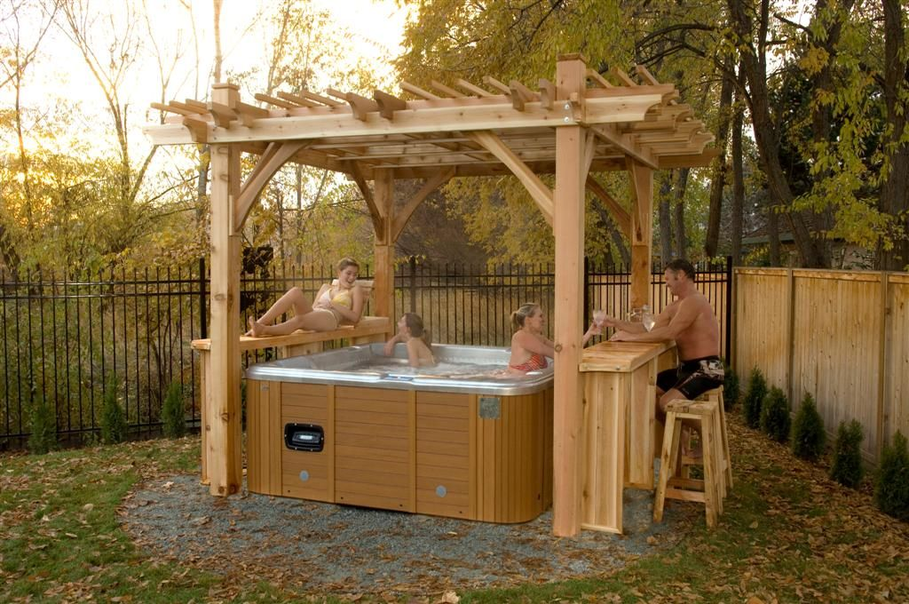 Hot tub gazebo outdoor living today 11x9 spa breeze for Hot tub shelter plans
