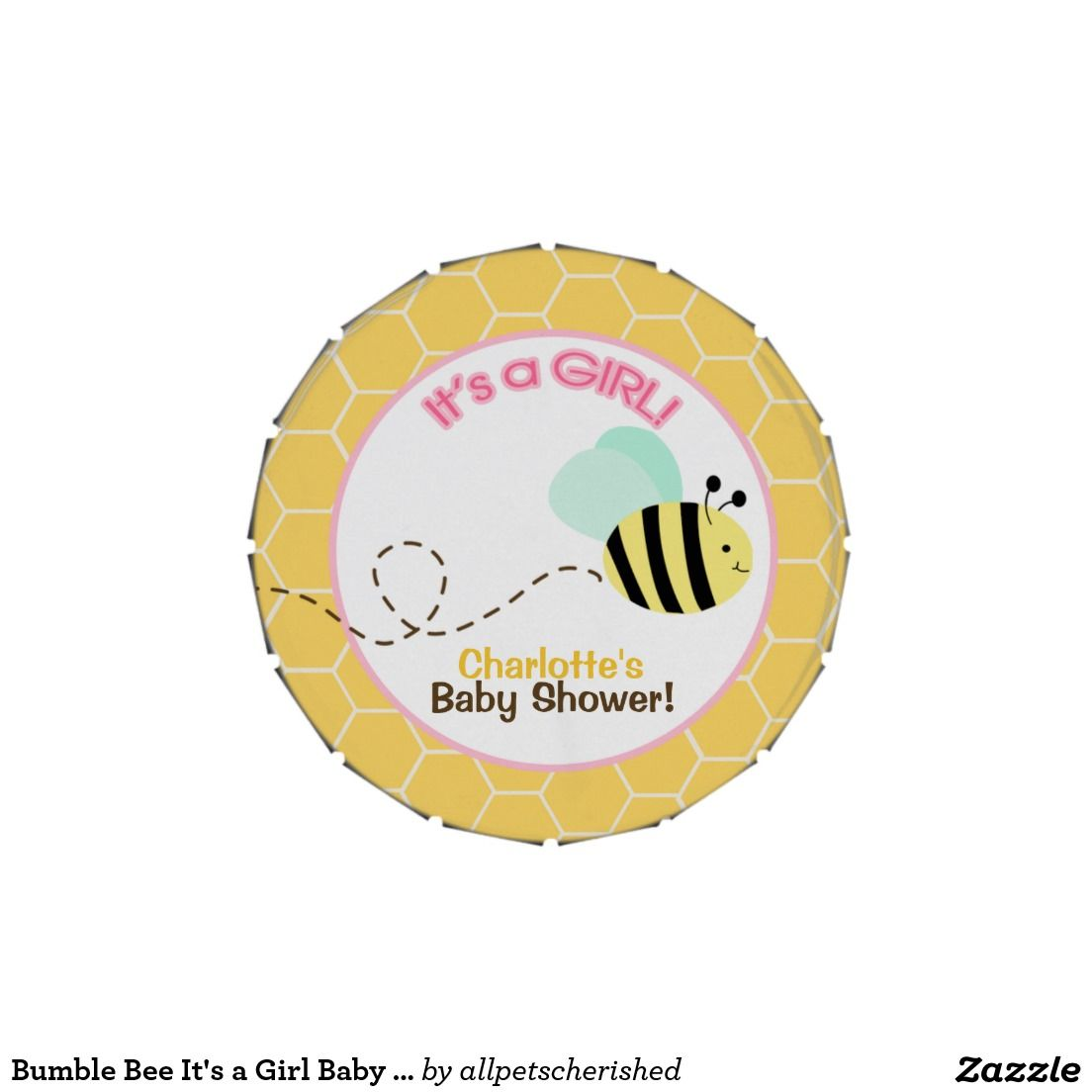 Bumble Bee It's a Girl Baby Shower Favor Tin Candy Tins