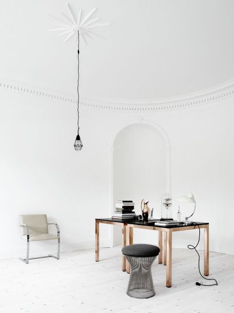 white wooden floors, yes please.  work space