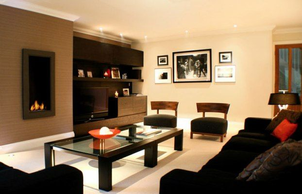 Attractive Living Room Paint Color Ideas With Dark Brown Furniture Design Inspirations