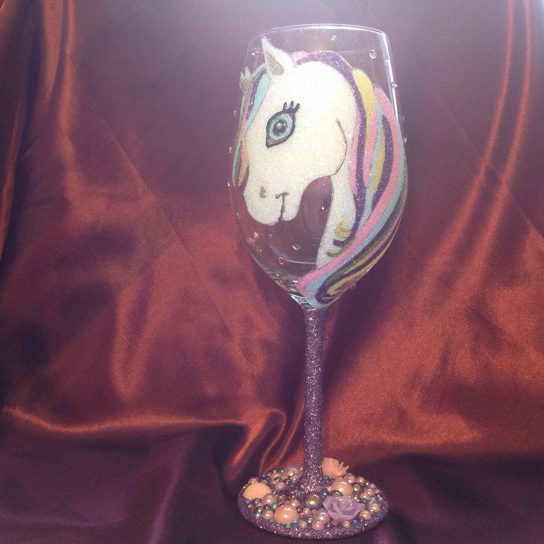 Unicorn Design Glitter Wine Glass Glitter Wine Glass Glitter Wine Wine Glass