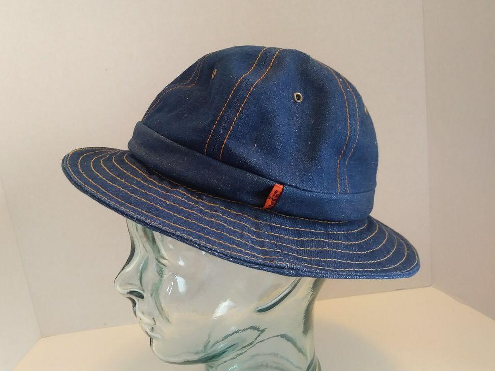 2e34e6d5547 VTG LEVIS Orange Tab Denim Bucket Hat Size Medium 1970s 70s Jean Boonie  Indigo  LEVIS