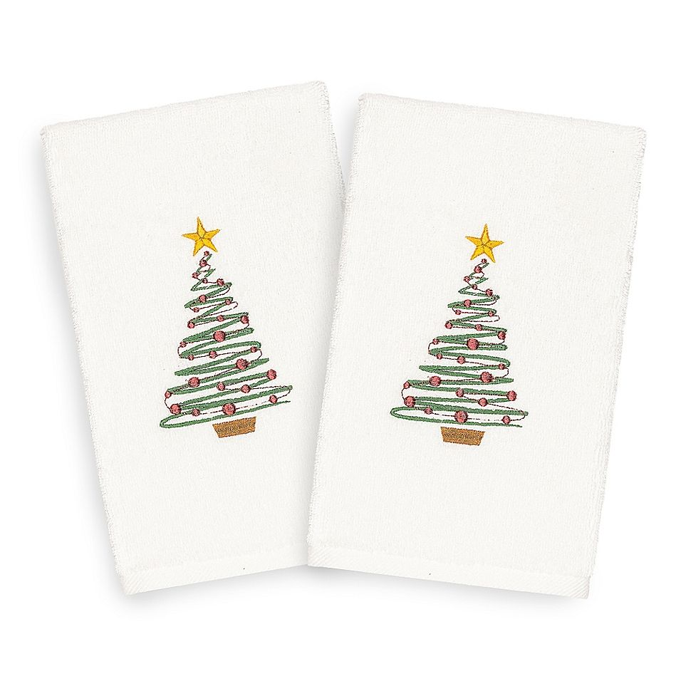 Linum Home Christmas Tree Hand Towels In White Set Of 2