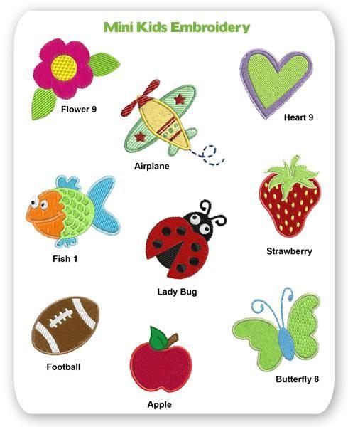Mini Kids Embroidery Designs Airplane Plane Ladybug Bug Strawberry