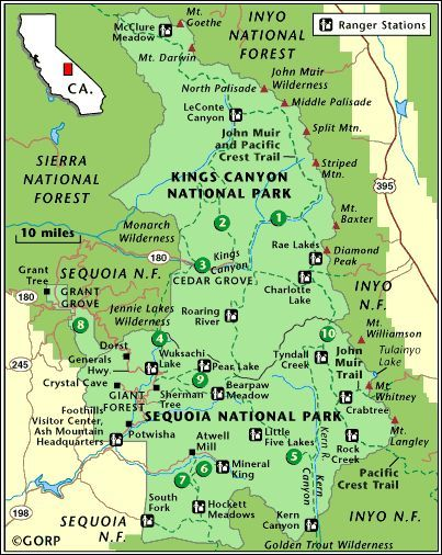 Map of Sequoia and Kings Canyon Nationwide Parks Climbing Trails