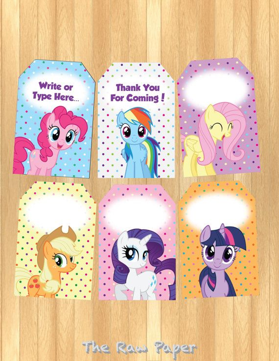 Instant Download Editable My Little Pony Thank You Tag My Little Pony Birthday Party Little Pony Birthday Party My Little Pony Party