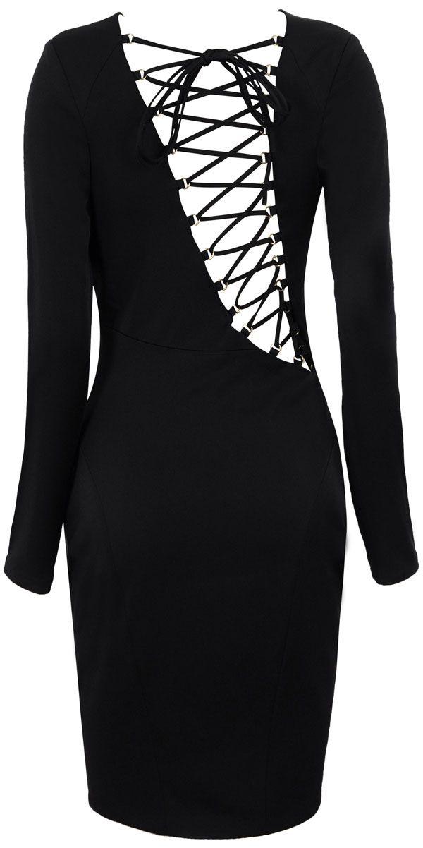 'Carmen' Stone & Black Lace Up Bodycon Dress