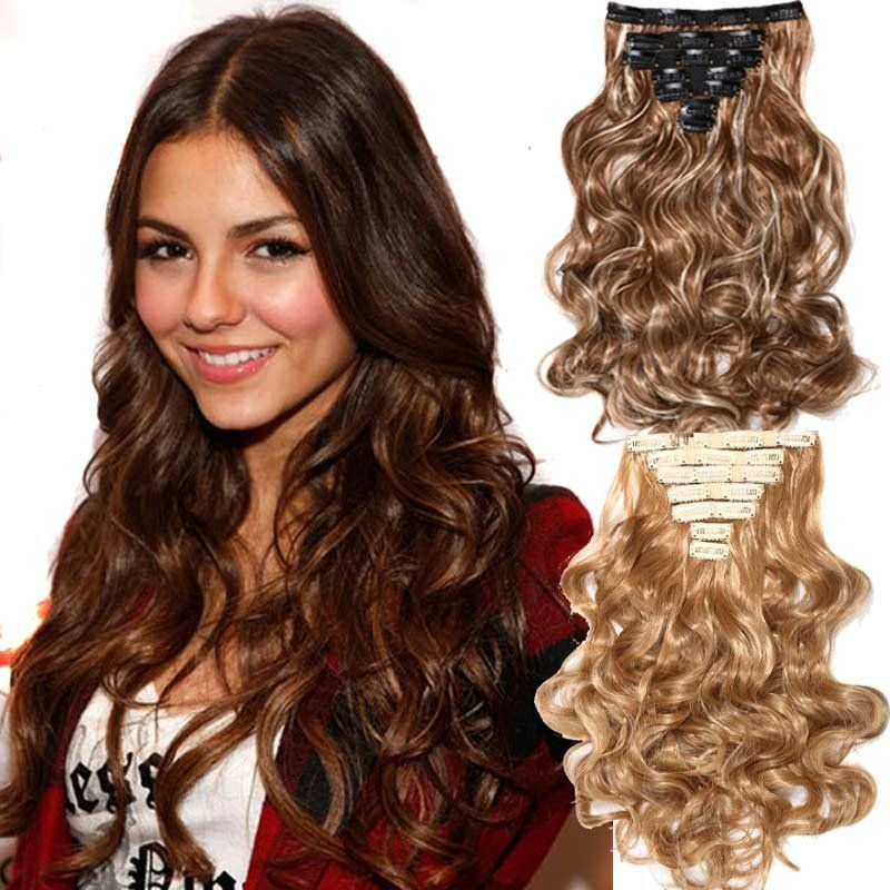 Clips In Hair Extension Long Curly Fake Hair Pieces 16 Clip 160g