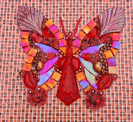 """Butterfly in """"Reds"""" by Doreen Bell Mosaic, via Flickr"""