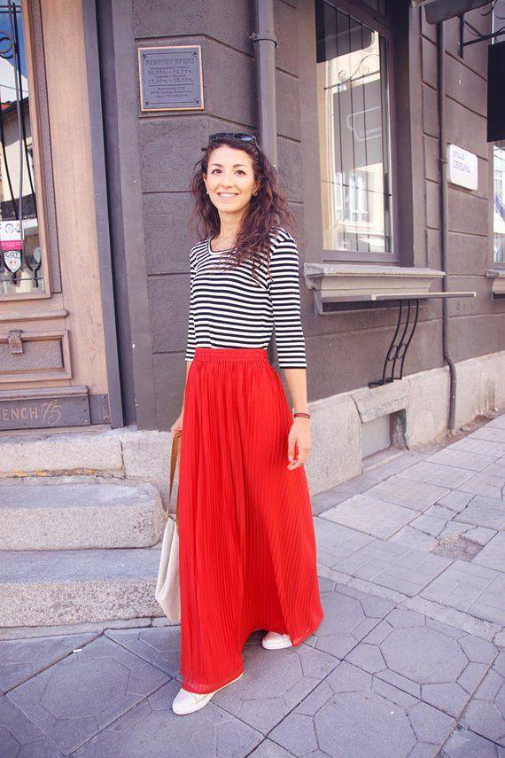 Red Chiffon Maxi Skirt, Long Pleated Skirt, Floor Length Boho Skirt, High Waisted Bridesmaid Skirt, Vintage Skirt