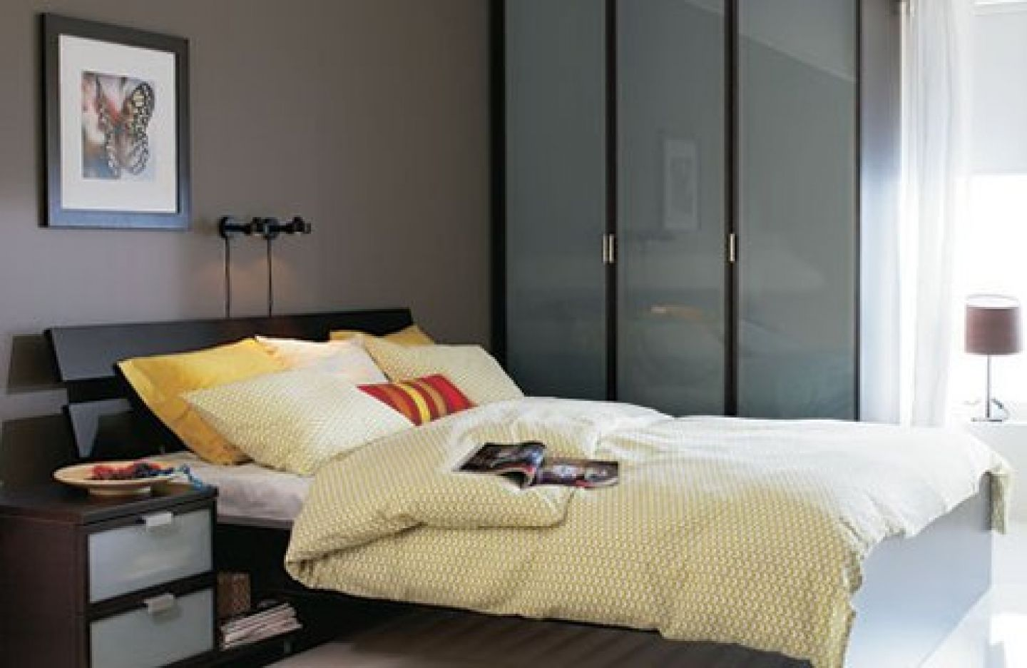 A Collection of Beautiful IKEA Bedroom Designs : Contemporary Grey IKEA Bedroom Decorating with Unique Frame Bed and Yellow Bedding