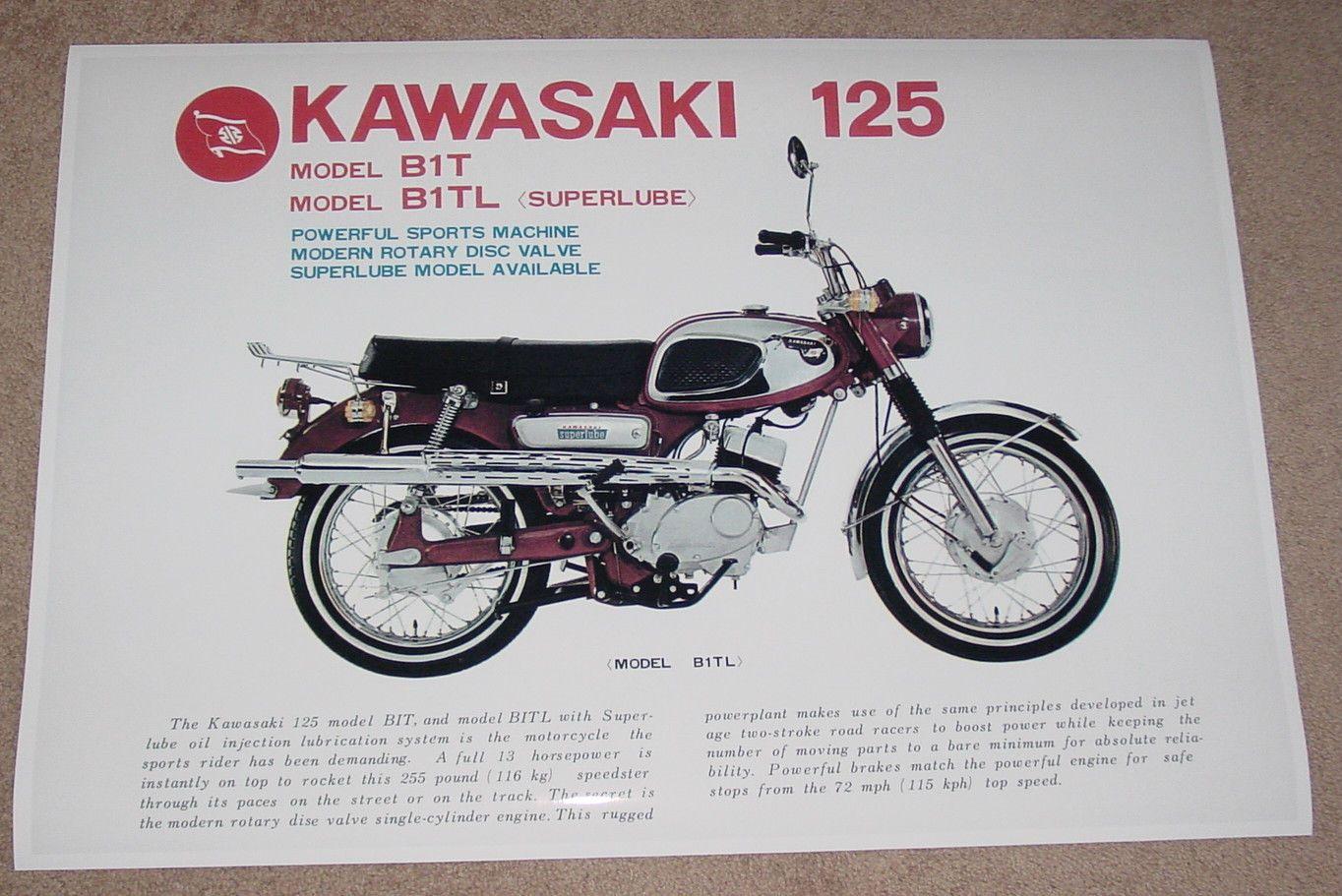1969 Kawasaki B1tl 125 Vintage Motorcycle Ad Poster Print 24x36 9mil Paper Ebay Vintage Motorcycle Posters Kawasaki Bikes Motorcycle Posters