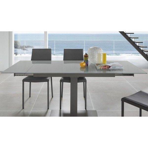 mesa OPN extensible pies epoxy gris y sobre cristal templado