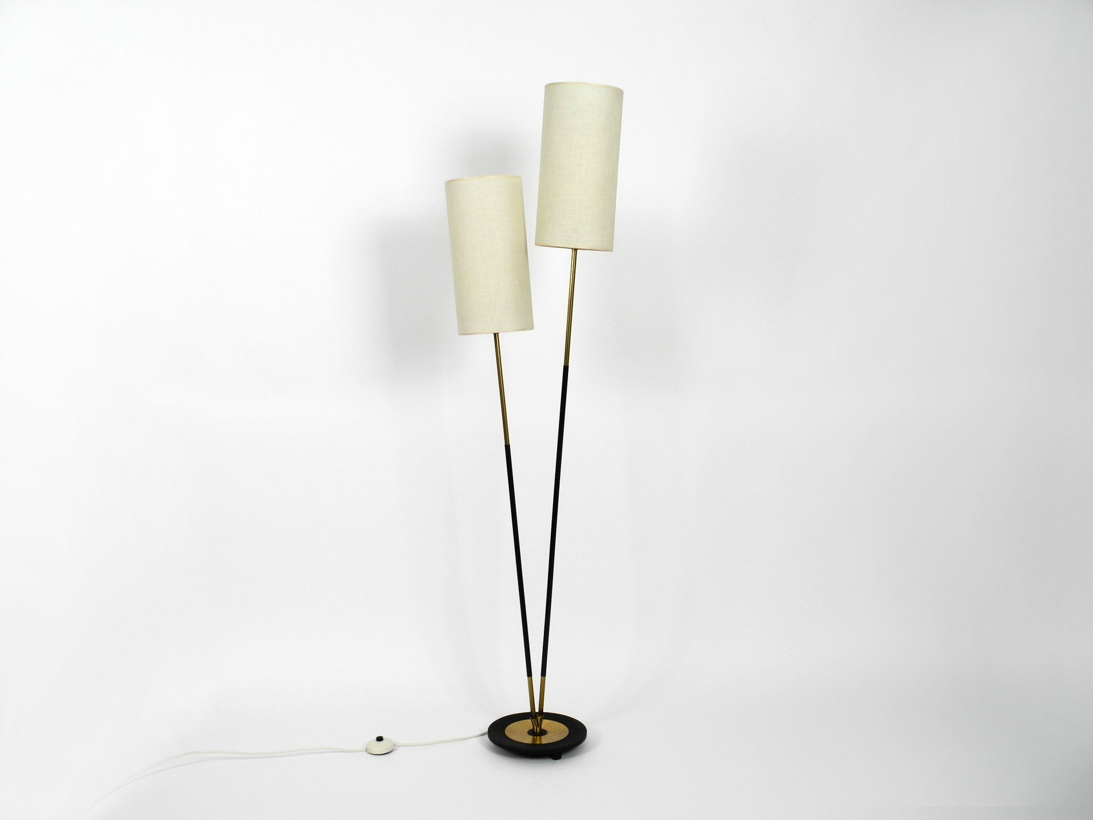 Gorgeous Almost Mint Mid Century Modern Brass Floor Lamp With Two