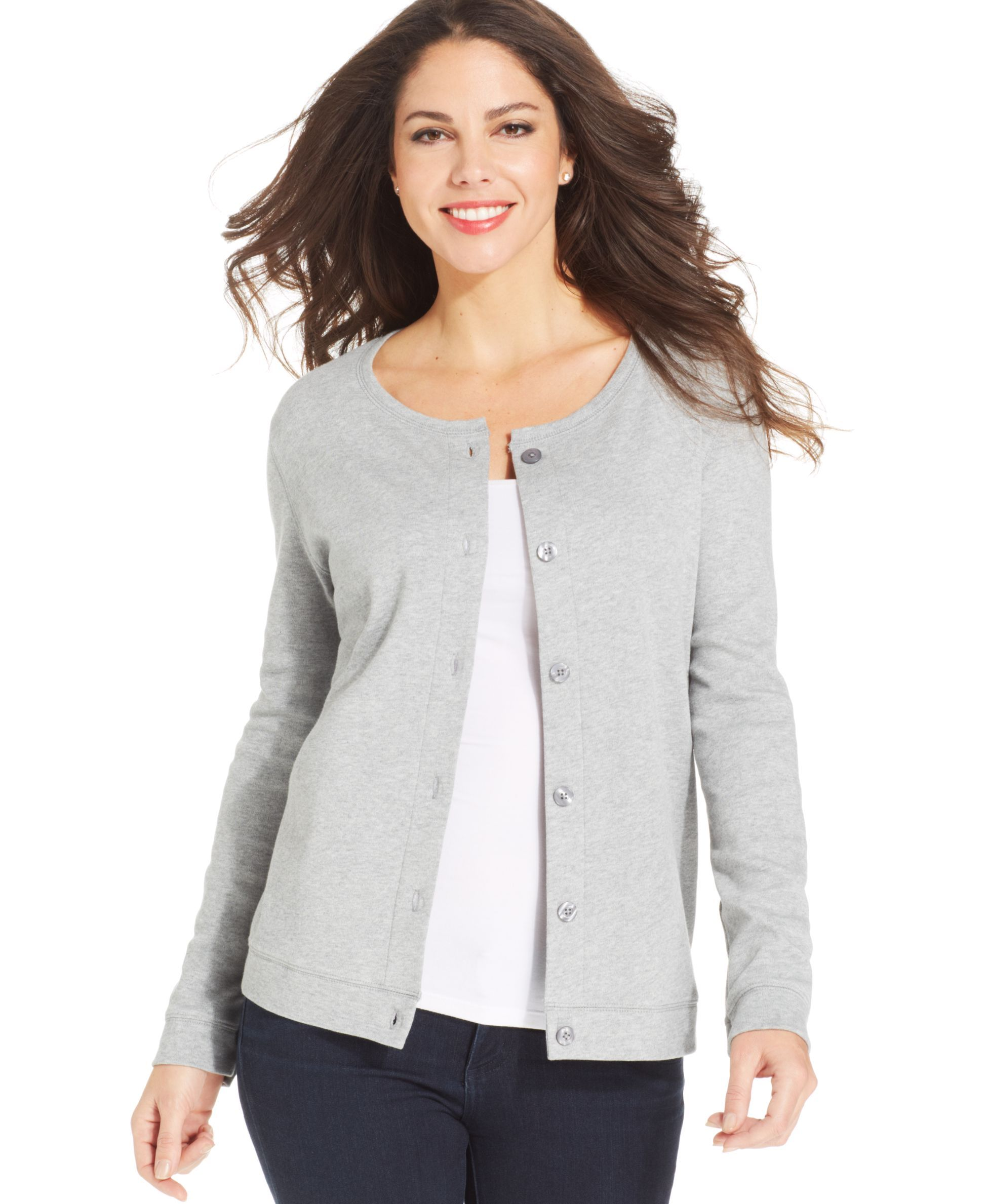 Karen Scott Long-Sleeve Button-Front Cardigan | Products ...
