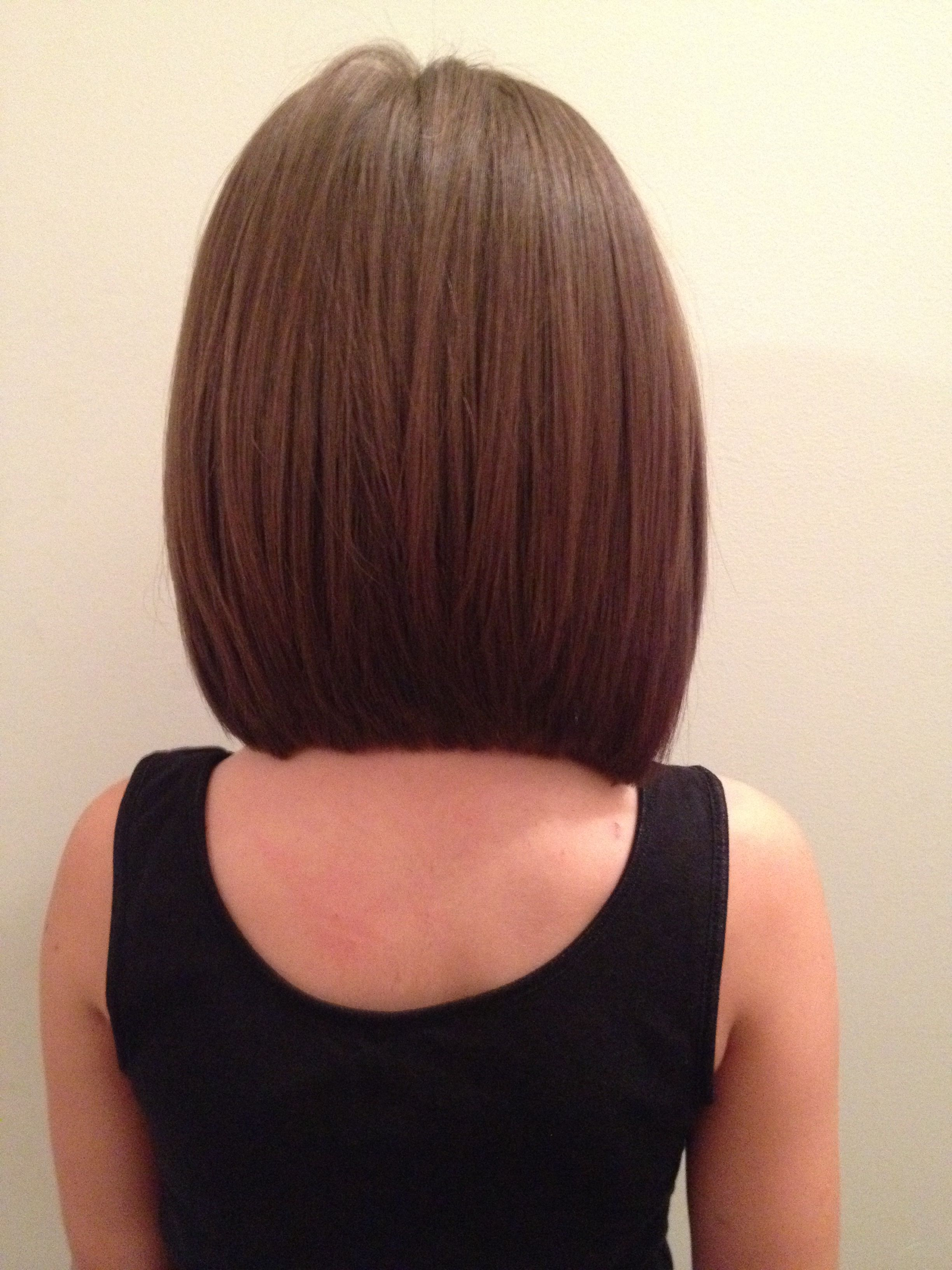 Long angled bob back view