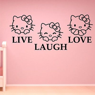 Hello Kitty Wall Art Sticker Live Laugh Love Bedroom Kids Vinyl - Wall decals live laugh love