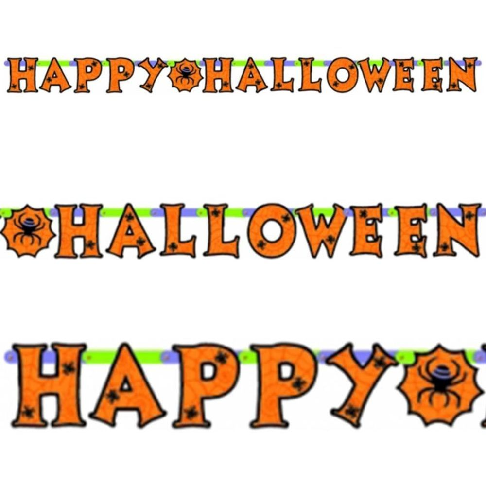 7.8ft happy halloween spider jointed cutout letter banner party
