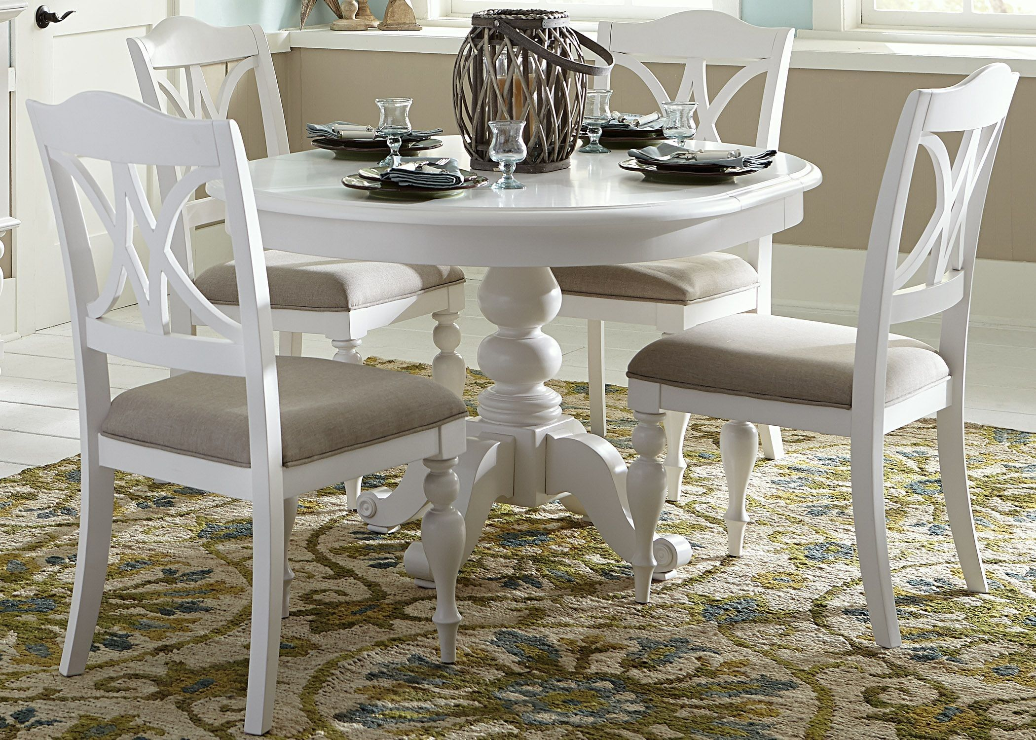 Summer House Oyster White Antique Round Pedestal Extendable Dining Room Set In 2021 Round Pedestal Dining Kitchen Table Settings Round Pedestal Dining Table White round kitchen tables