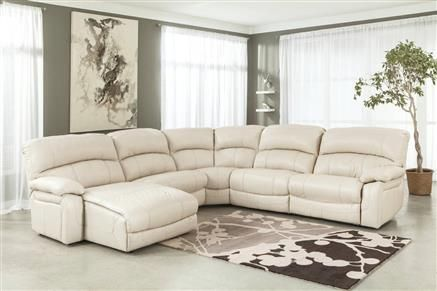 damacio cream leather sectional w laf