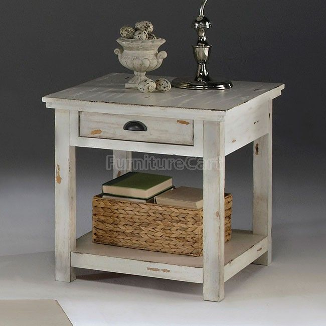 Willow End Table Distressed White In 2020 Coastal Living Rooms