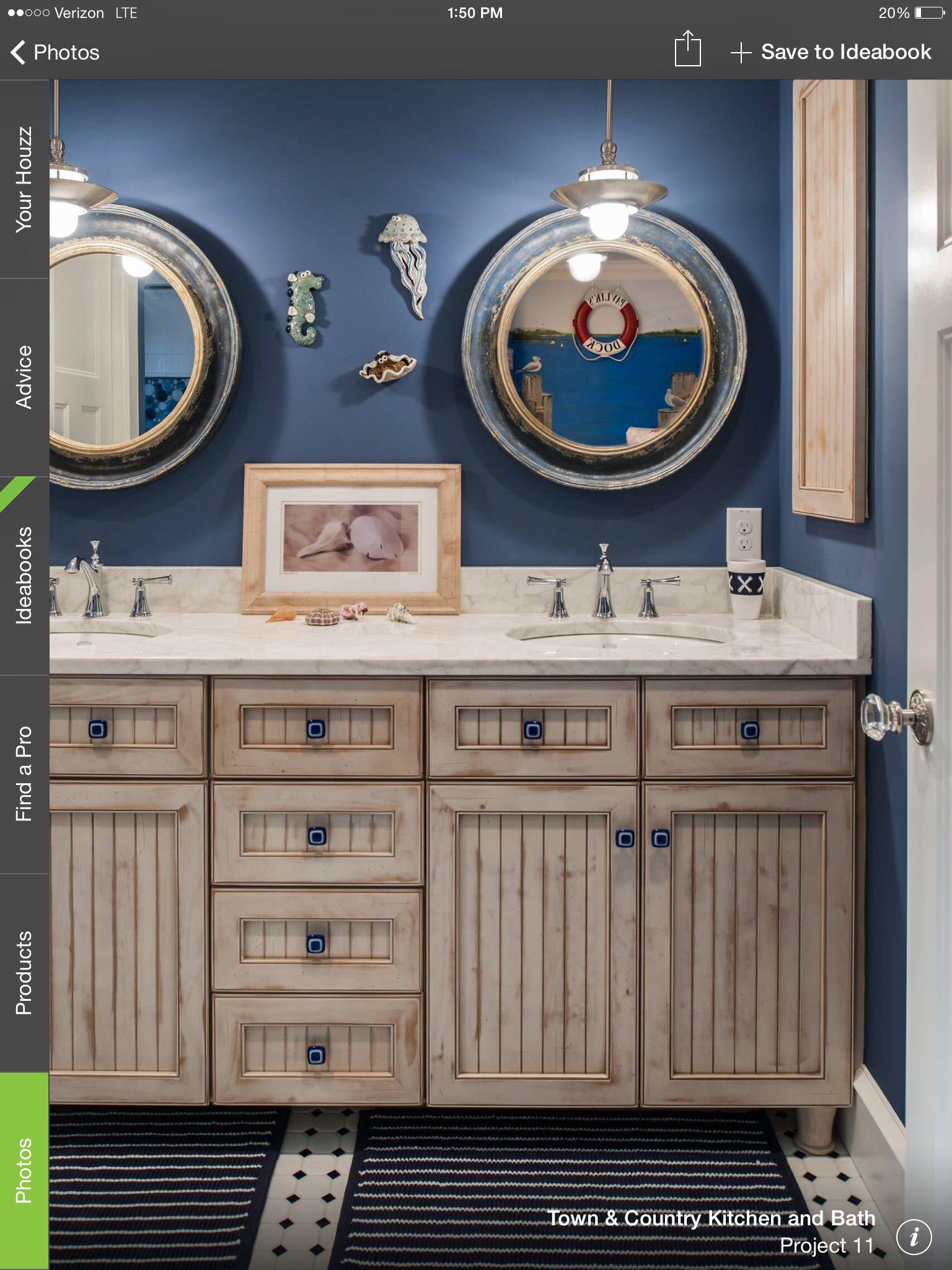 Love the cabinets and lights | Nautical theme bathroom ...