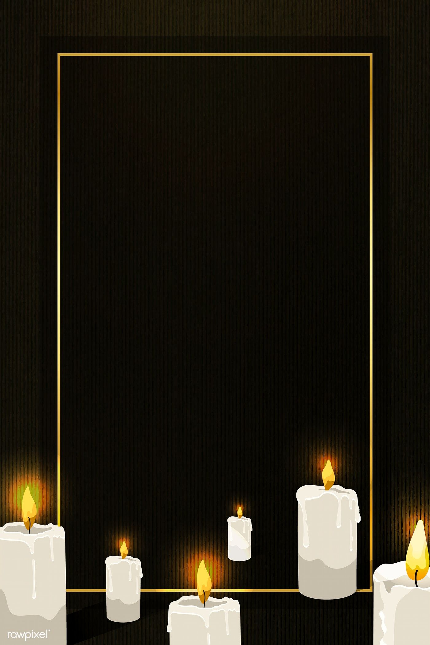 Gold Frame On Lit Candles Pattern Black Background Vector Free Image By Rawpixel Com Aew Candle Pattern Vector Free Gold Frame