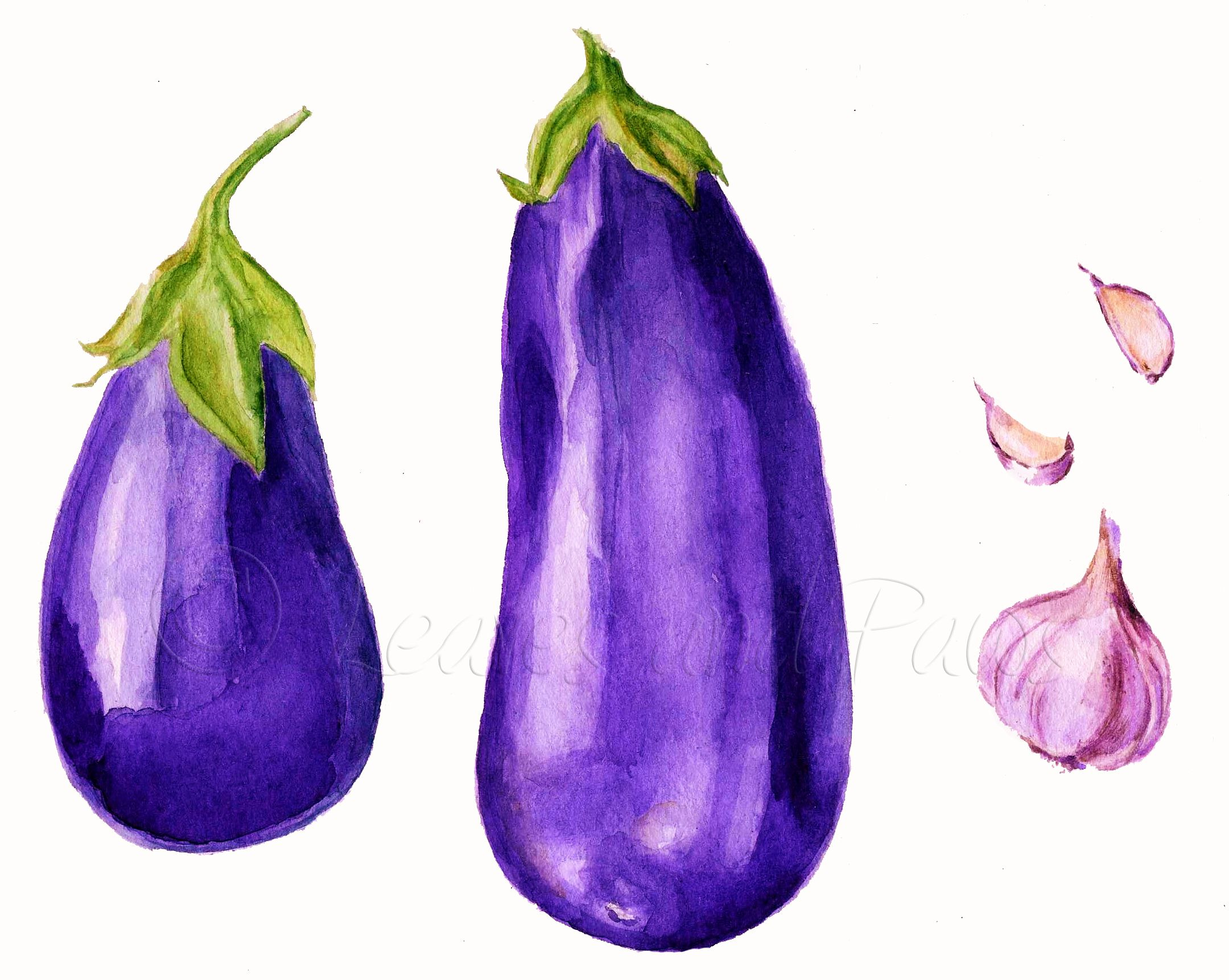 Good Watercolor Eggplants And Garlic, Kitchen Decor, Aubergine Painting,  Watercolor Vegetables