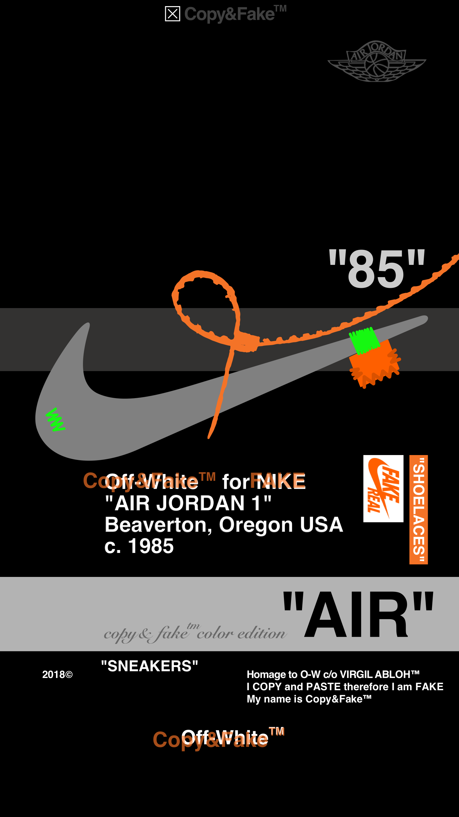 Off White Nike Aj1 Blk02 Copy Fake Color Edition White Wallpaper For Iphone Hype Wallpaper Hypebeast Iphone Wallpaper