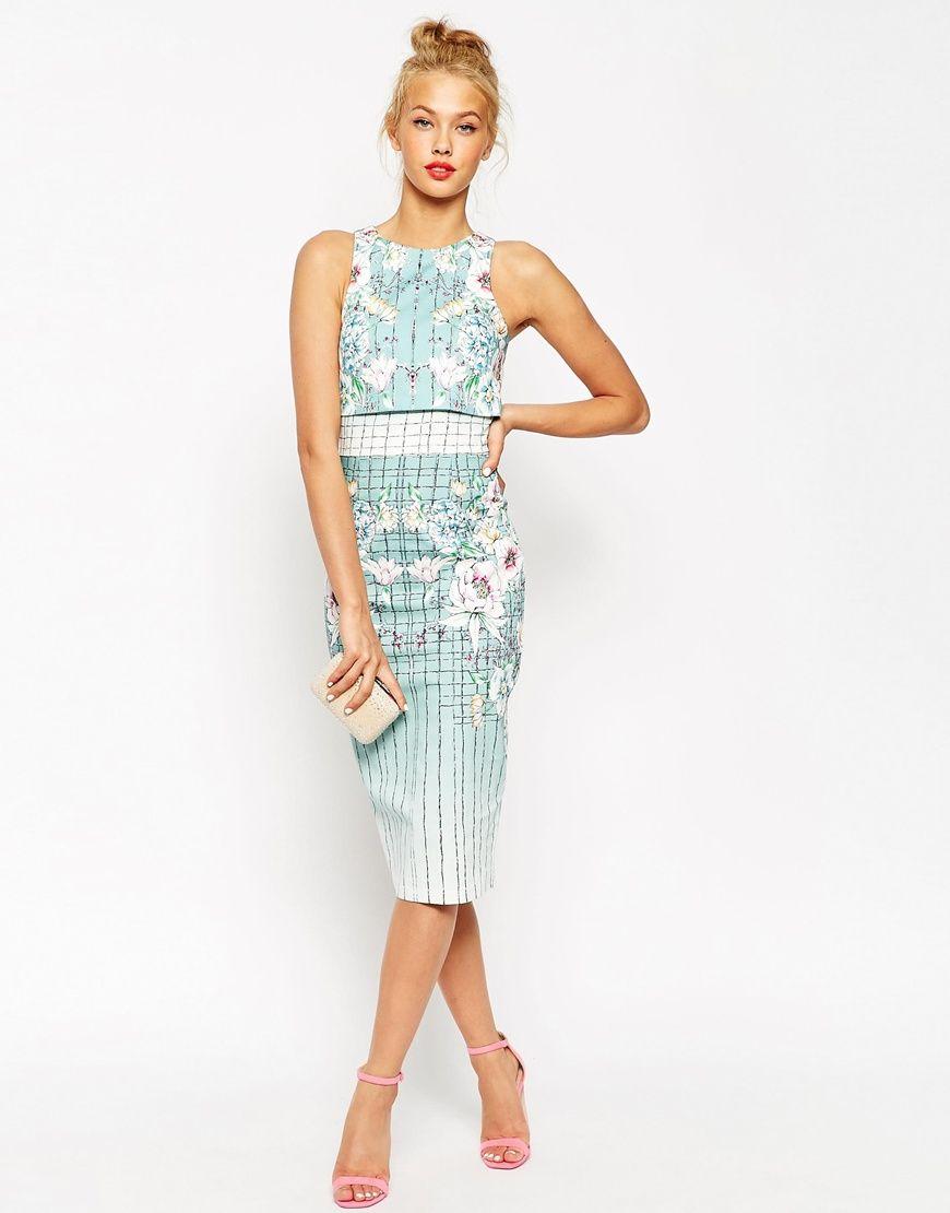 ASOS | ASOS Placed Floral Crop Top Pencil Dress at ASOS | dress ...