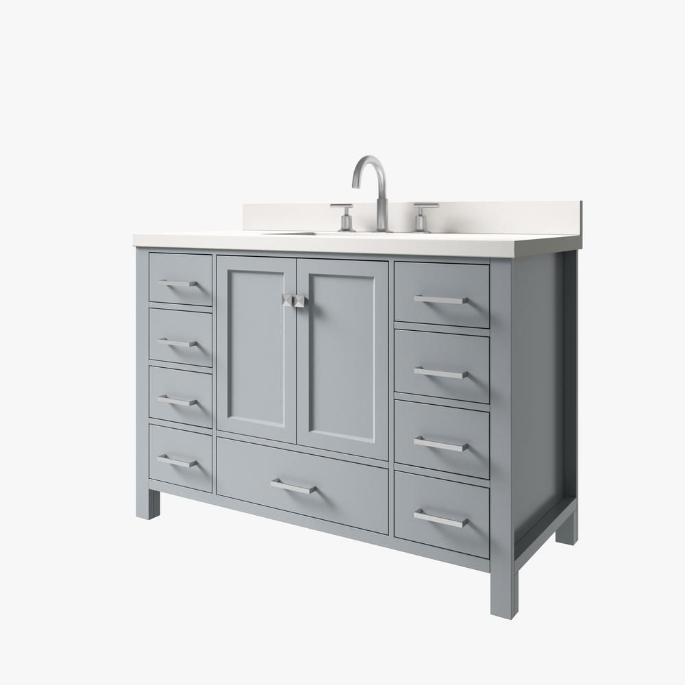 Ariel Cambridge 49 In W X 22 In D X 35 In H Vanity In Grey With Quartz Vanity Top In White With White Basin A049swqrvogry In 2020 Quartz Vanity Tops Vanity Modern Bathroom