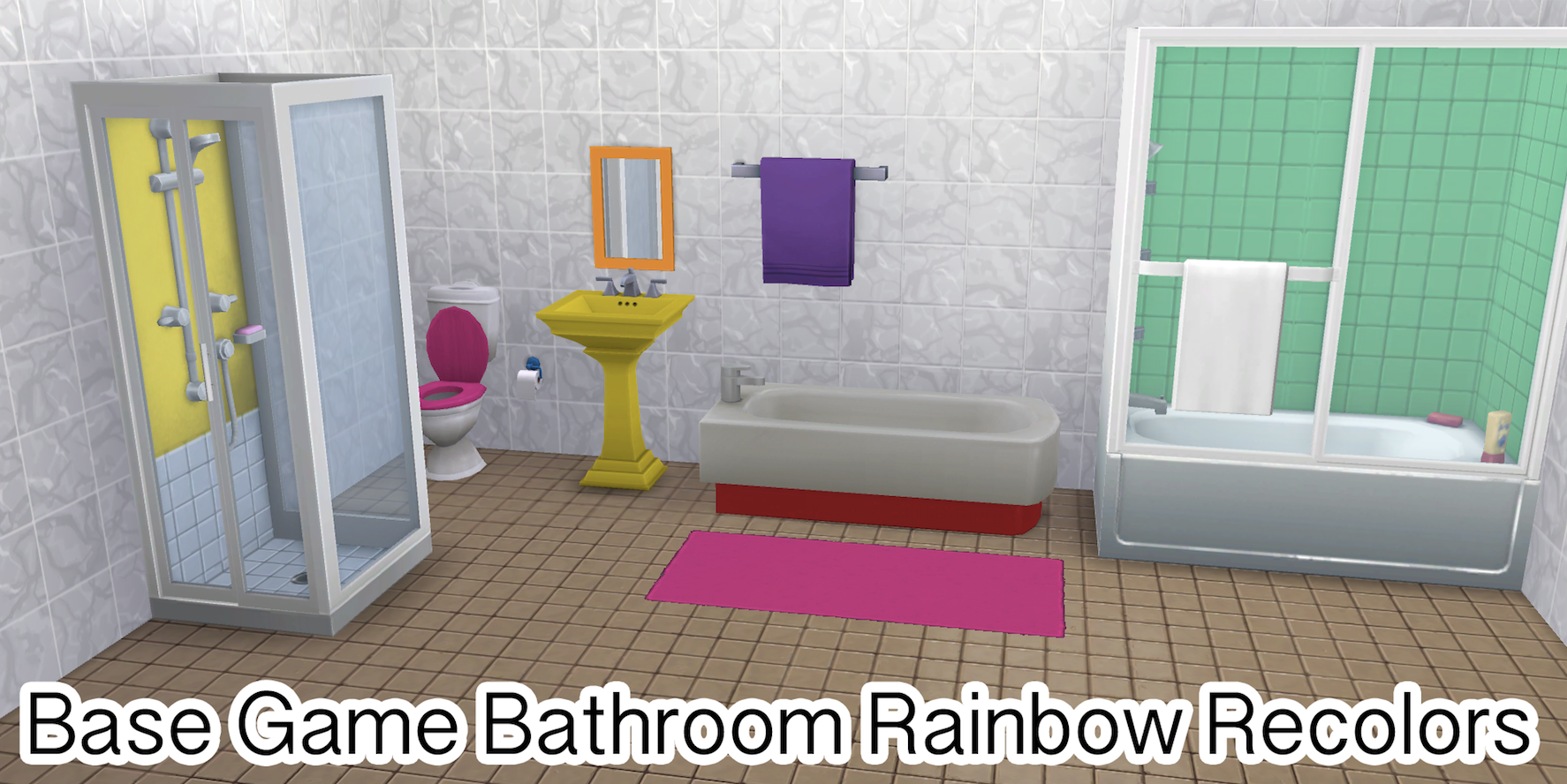 Base Game Bathroom Rainbow Recolors Rainbowsparklessims Rainbow Bathroom Recolor Bathroom