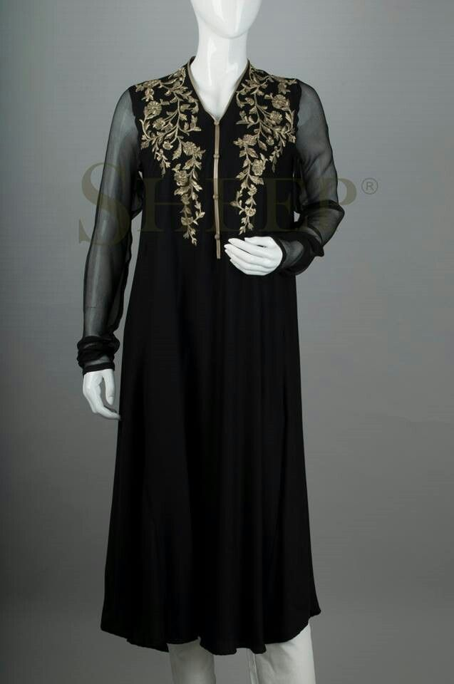 black chiffon shirt with dull gold embroidary by sheep