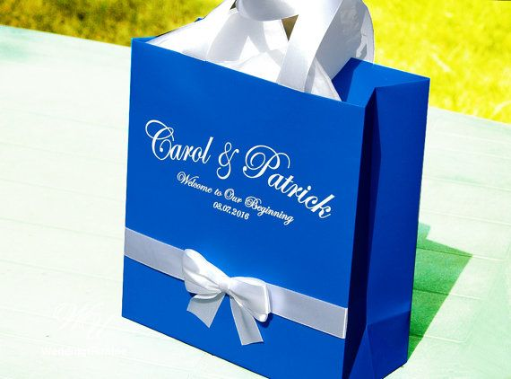 Royal Blue Wedding Gift Bags With Satin Ribbon Bow And Names Elegant Personalized Paper Bag Custom