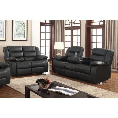 Layla 2 Pc Black Faux Leather Living Room Reclining Sofa And