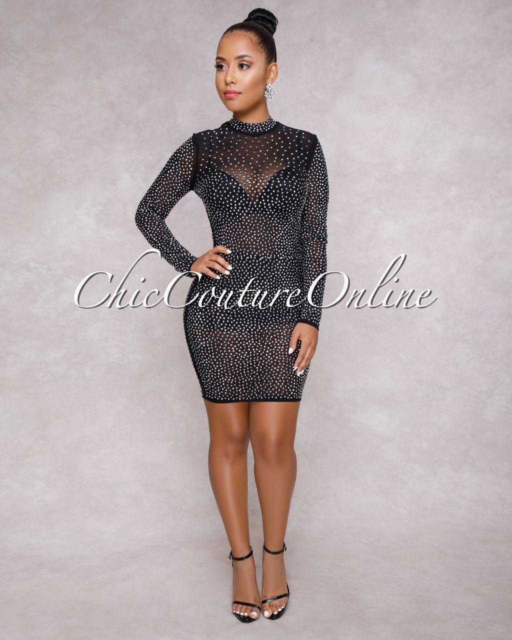 c5f8e48f44 Dacey Black Silver Rhinestones Semi-Sheer Mesh Dress