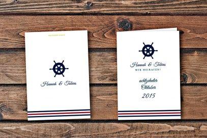 maritime einladungskarte. hochzeitskarte mit steuerrad, Kreative einladungen