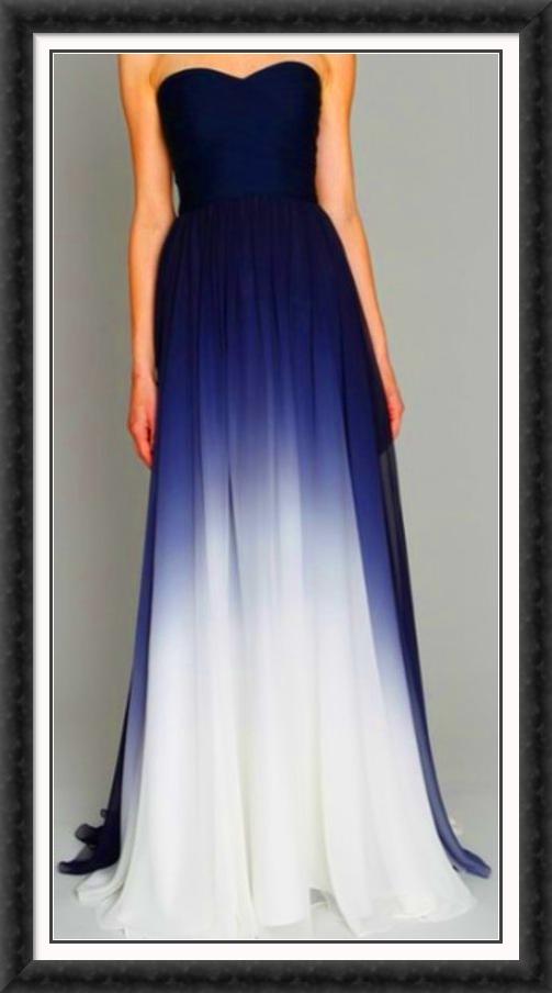 Gorgeous Blue White Formal Gown Marine Ball Dresses Ball Dresses Ball Gowns