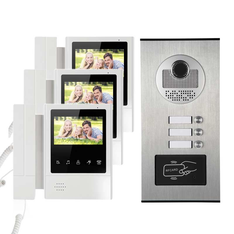 Building Video Intercom System Rfid Door Phone 3 Monitors Wall Mounted For 3 Apartments Building Video Intercom Intercom Video Door Phone Doorbell Camera