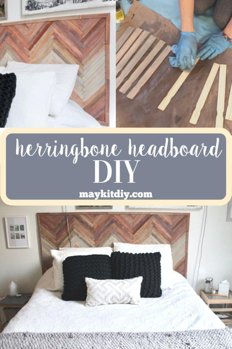 Herringbone Wood Paint Stick Headboard Herringbone Headboard