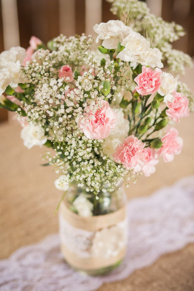 Pink Carnation And Baby S Breath Centerpieces Carnation Wedding