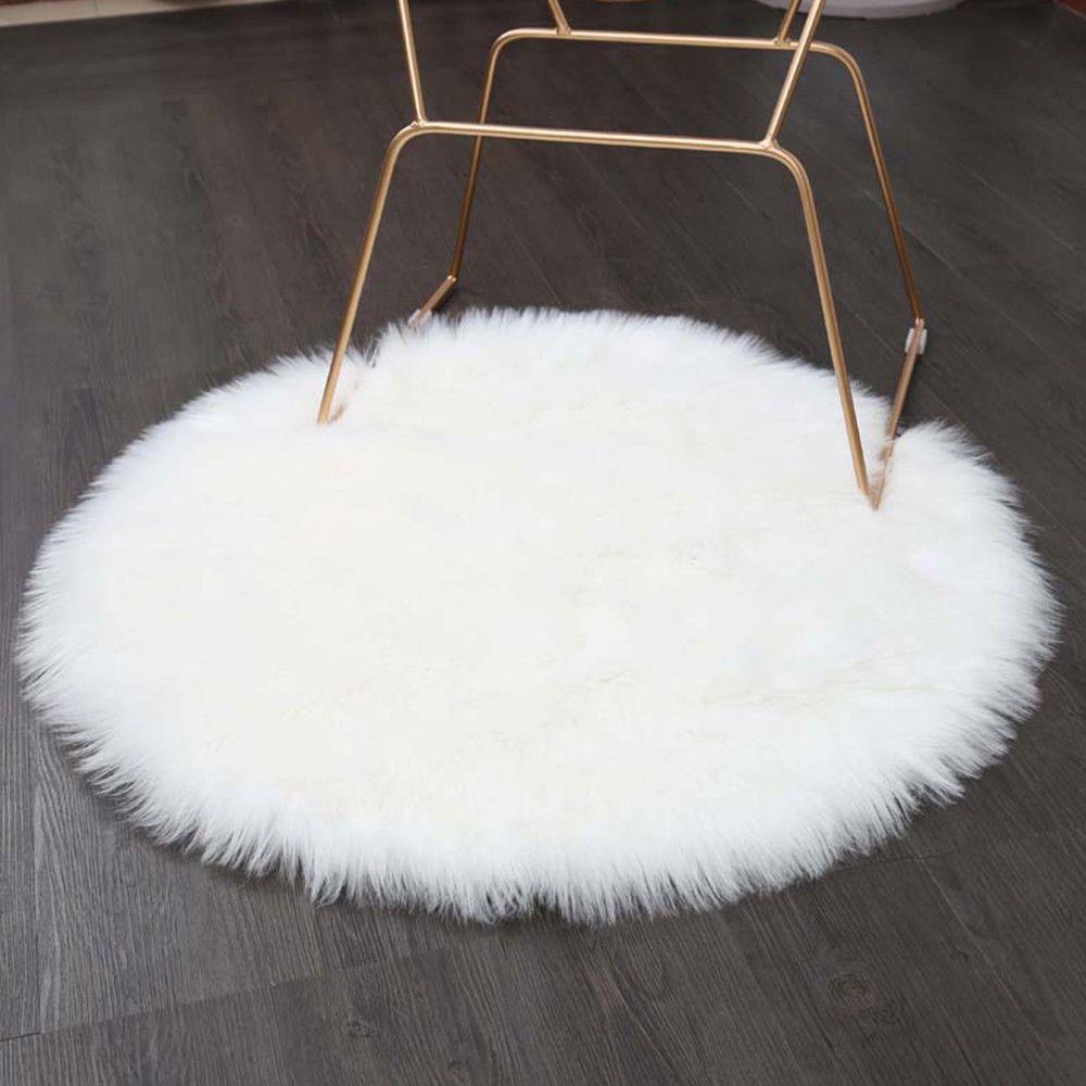 7 99 Gbp White Round Sheepskin Hairy Carpet Faux Mat Fur Plain Fluffy Soft Area Rug Ebay Home Garden Rugs On Carpet White Fluffy Rug Round Carpets